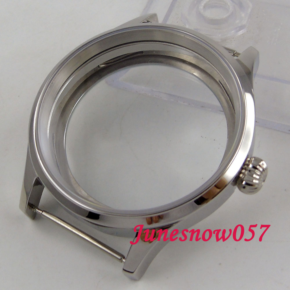 parnis 43mm watch case sapphire glass Polished 316L stainless steel Fit ETA 6497 6498 hand winding movement C144 цена и фото