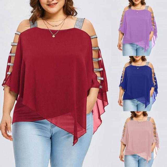 Plus Size Summer Women Off-the-shoulder irregular Tee top T-Shirt Sexy For Women Chiffon Fashion Hollow Out Cut Out Tops Blusas 4