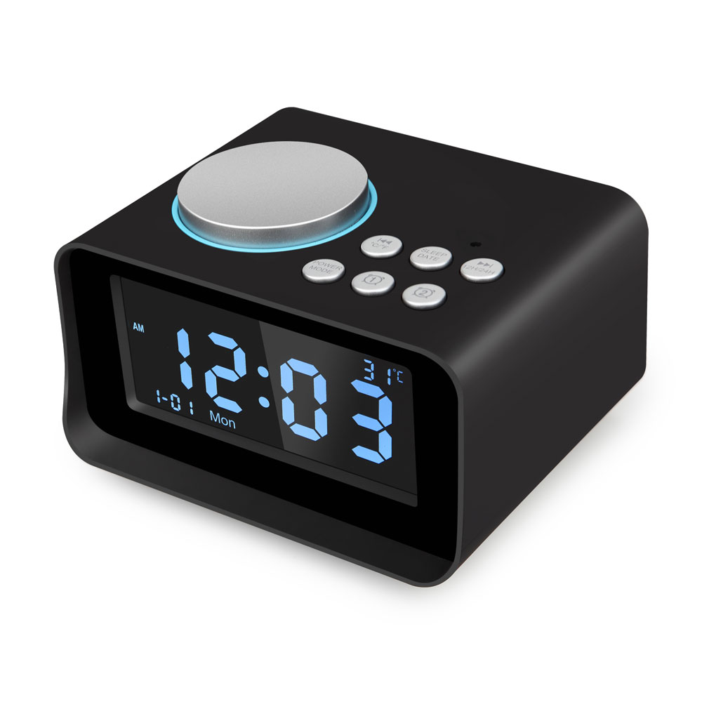 Digital Alarm Clock, Bluetooth Speaker with USB Charger, FM Radio, Snooze, AUX TF Card Play, Thermometer