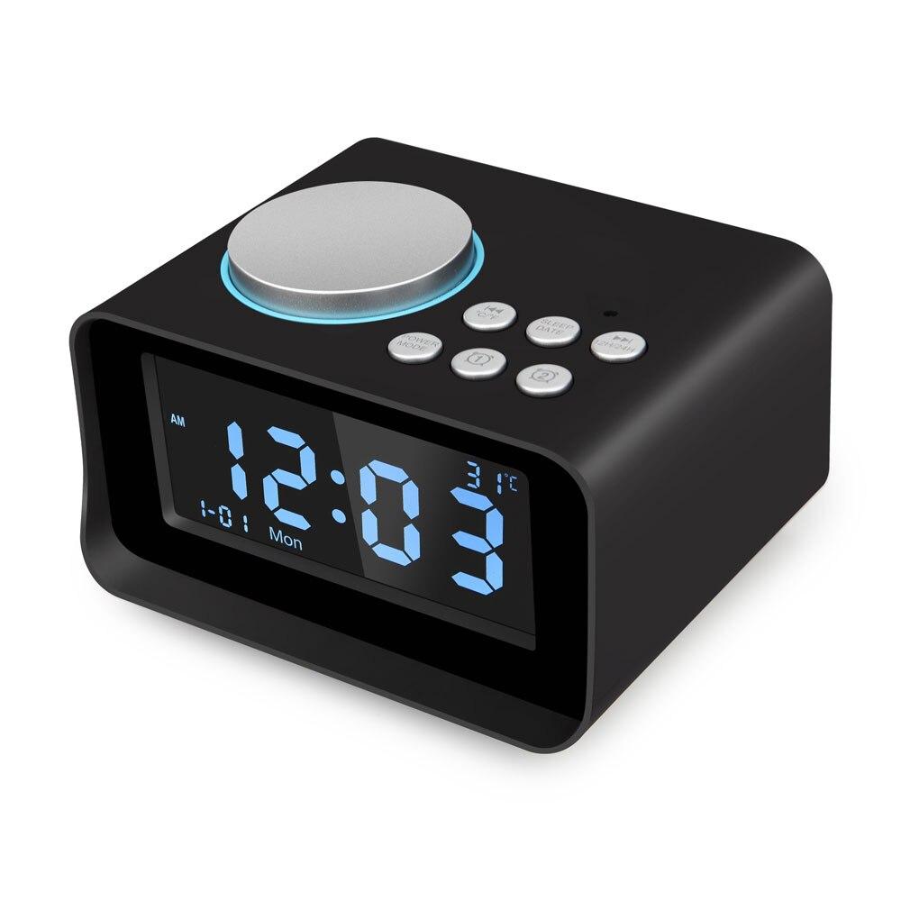 Digital Alarm Clock, Altoparlante del Bluetooth con il Caricatore USB, Radio FM, Snooze, AUX Gioco Della Carta di TF, termometro