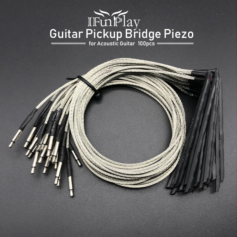 100Pcs 6 String Acoustic Guitar Bridge Saddle Rod Piezo Pickup Piezo for Folk Guitar Music Instrument