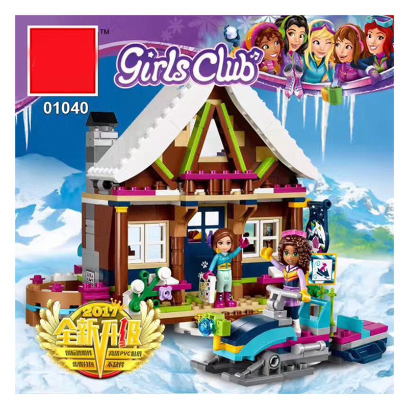 01040 514Pcs The House Building Blocks Toys Snow Resort Chalet Kids Bricks Toys Fro Girl Gifts Compatible Legoing Friends 41323 50pcs starwars superhero building the roman soldiers blocks bricks friends for girl boy jenga house games children toys