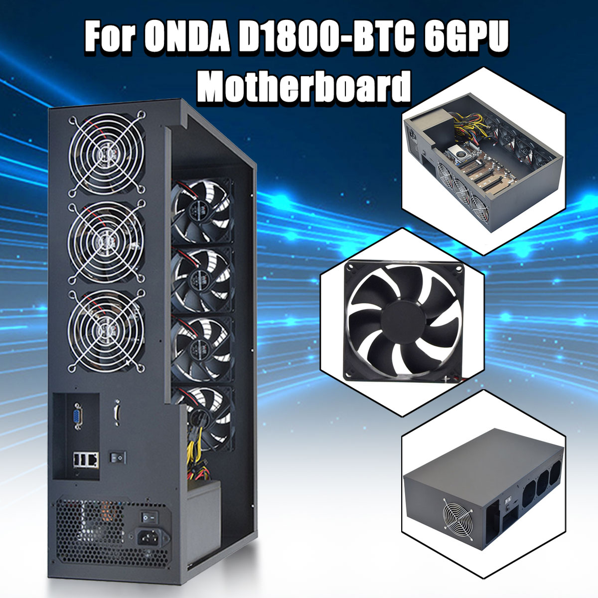 Open Air 6GPU Crypto Coin Mining Server Frame Rig Graphics Case /with 7 Fans Optional Computer Mining Case Frame Server Chassis new 4u industrial computer case parkson 4u server computer case huntkey baisheng s400 4u standard computer case