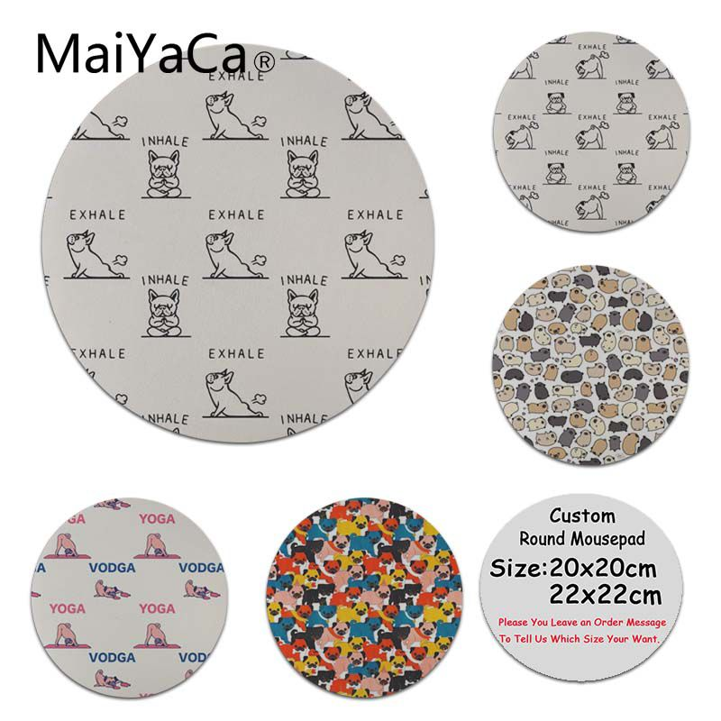 MaiYaCa New Designs Inhale Exhale Pug Anti-Slip Durable Silicone Computermats Size for 20x20cm 22x22cm Professional Gaming Mouse