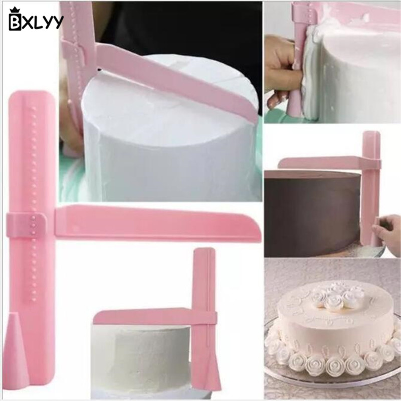BXLYY New Year Wave Mold DIY Fondant Cake Printing Cutting Mold Stamping Height Adjustable Cream Fondant Cake Screed Scraper 7z in Baking Pastry Spatulas from Home Garden