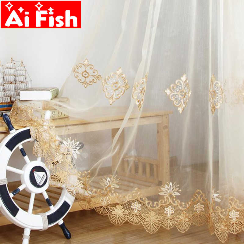 Beige Yellow Luxurious Lace Fringe Embroidered Sheer Window Door Tulle Curtain For the Living Room Kithchen Drapes AP160-30