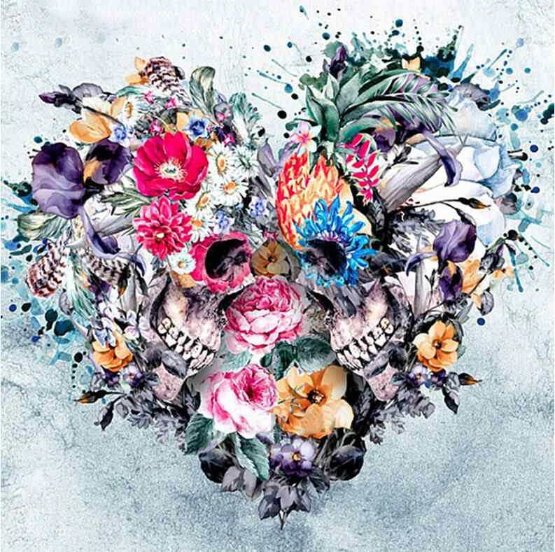 "Full Square/Round Drill 5D DIY Diamond Painting love,""Skull Flowers Love"" 3D diamond Embroidery heart Cross Stitch Mosaic Decor"