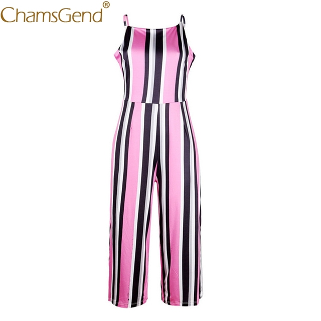 Free Shipping Women Sleeveless Strappy Pink Striped Jumpsuit Backless Wide Leg Rompers 80509 Drop Shipping