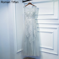 Roman Tiffan Prom Dresses Silver Appliques A Line Sleeveless Tulle Long Party Gown Scoop Neck Real