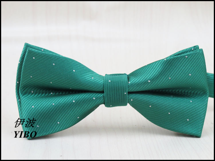 (1 Pieces/lot)  Polyester Boys  Bow Tie/Silver Dot Design/man Fashion Leisure Formal Clothes Green Bowknot