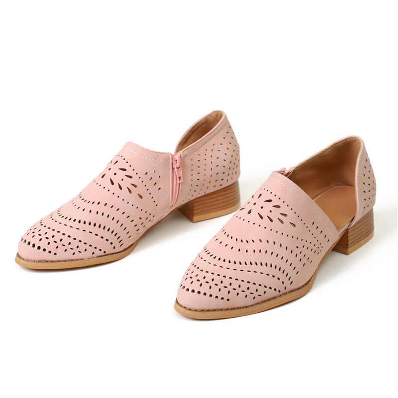 Phụ nữ Bơm Side Hollow Vuông Thấp Gót Chân Người Phụ Nữ Mùa Xuân giày đôi giày Thuyền Giày Retro Cổ Điển Hollow out Trượt Trên phụ nữ Giản Dị giày