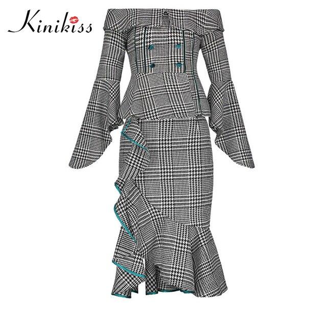 Kinikiss 2017 women suit set plaid two piece set short slash neck button falbala shirt slim zipper autumn fashion pencil skirt