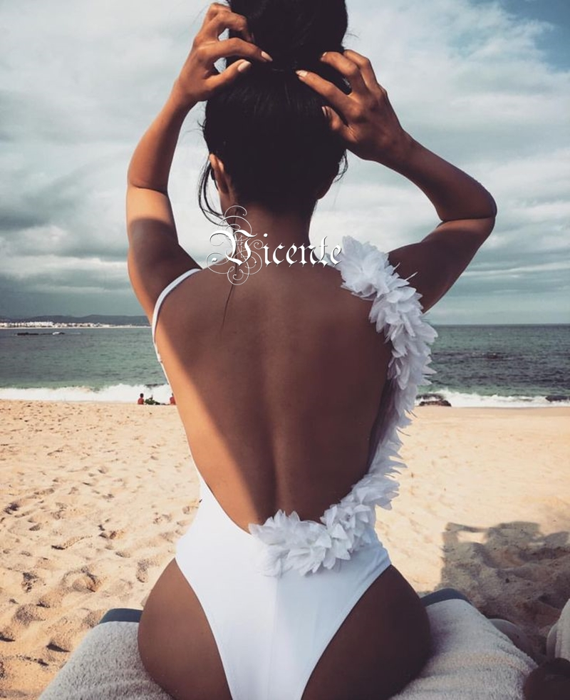 Sexy T Nu shirt Dos Appliques Body D'été V Chic De Manches cou Maillot Conception blanc Bandage Beachwear Noir Sans Vicente Chaude Bain BqApTnX