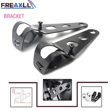 Black Headlight Mounting Bracket Adjustable Fork Mount Clamp for Motorcycle Chopper Cafe Racer with 35~43mm Tubes