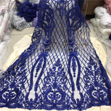 Nigerian Beaded Lace Fabric 2018 High Quality Material Blue French Tulle Mesh Fabrics1204-2