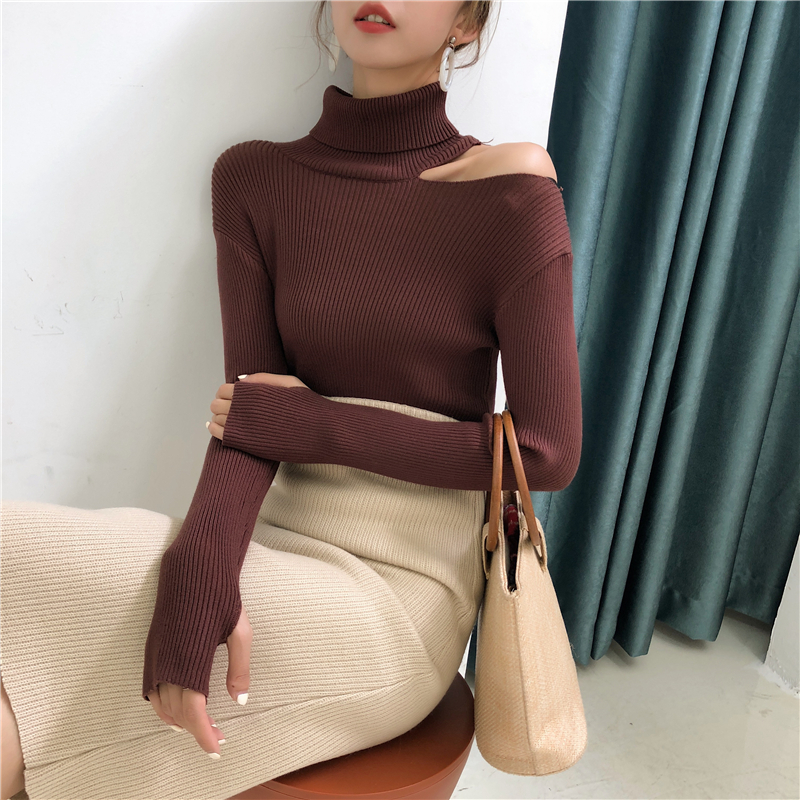 Colorfaith Women Pullovers Sweater 19 Knitting Autumn Winter Turtleneck Sexy Hollow Out Off Shoulder Casual Ladies Tops SW755 18