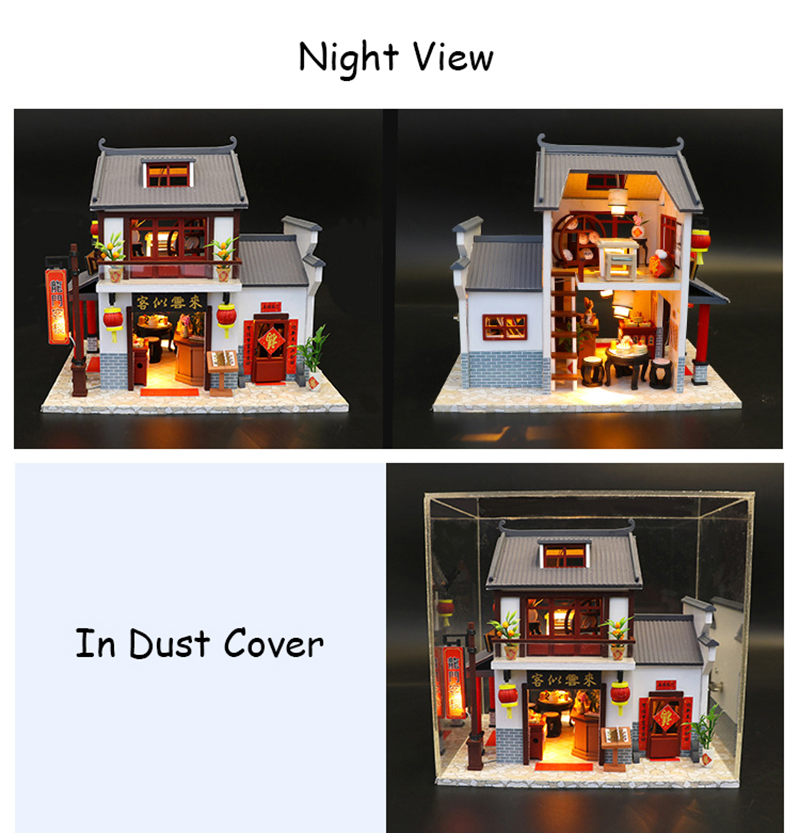 Doll House Chinese Style Hotel Miniature Dollhouse Assemble Kit Toys Wooden Retro Shop Furniture House Toys for Children New Year Christmas Gift (6)