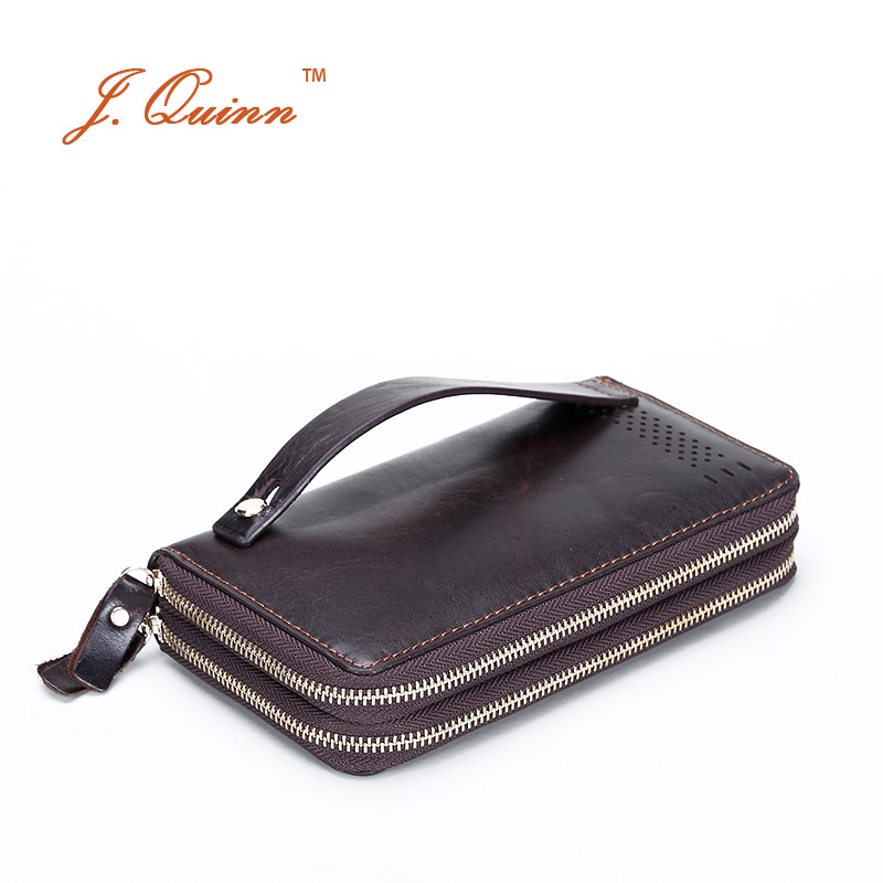 ФОТО J.Quinn Hot Business Dual Zip Around Men's Clutch Wallets Cow Leather Long Hand Bag Retro Large Card Holder Wallet with Wristlet
