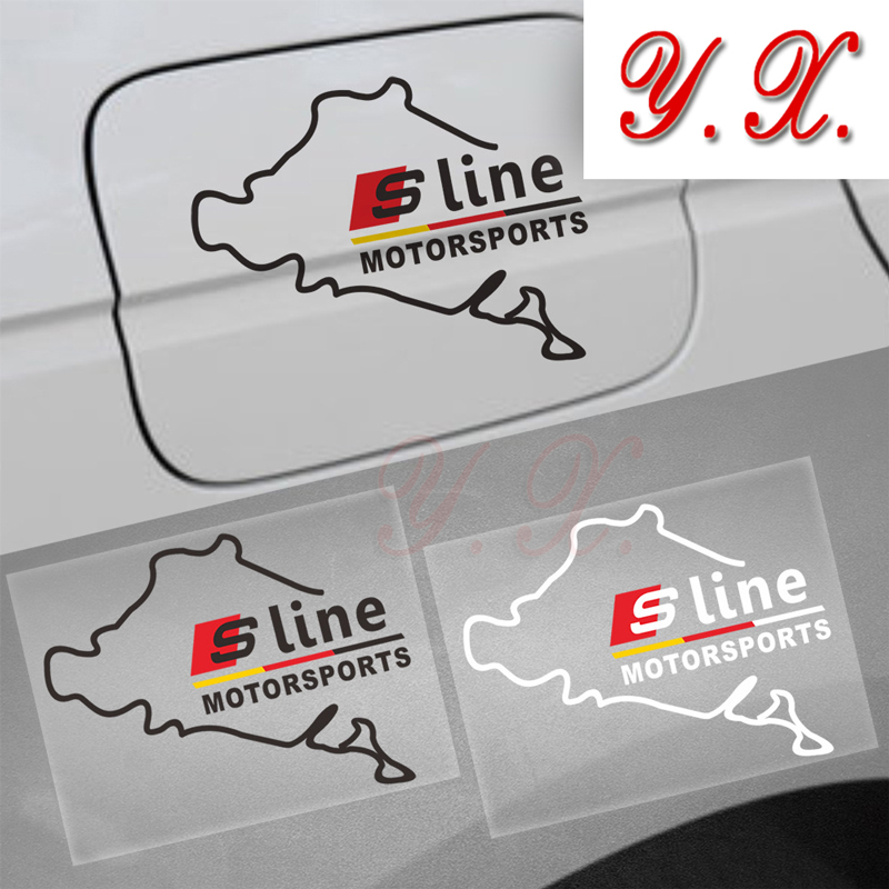 Стайлинга автомобилей S линии эмблема логотип Светоотражающие Стикеры для Audi A3 A4 A5 A6 Q5 Q7 b5 b6 B8 TT топлива Кепки Наклейки и наклейка аксессуары ...