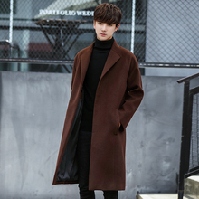 New Men's Fashion boutique pure color High-grade woolen cloth Casual trench coat Male leisure Wool Blends dust coats jackets