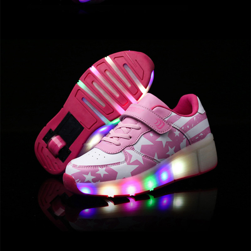 Girls Kids Roller Light Up Shoes Boys Glowing Sneakers with Wheels Star Style Pink Black tenis