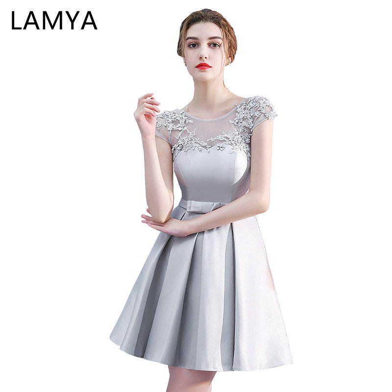 Lamya Cheap Short A Line Satin Bridesmaid Dresses 2018 Vintage Plus