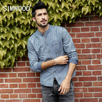 SIMWOOD 2018 Fashion Spring Shirts Famous Brand 100 Cotton Long Sleeve Denim Shirts Men Casual Men