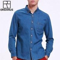High Quality Fashion Jeans Shirt Long Sleeve Solid Casual Slim Fit Washed Denim Man Shirts Social Cotton Cowboy Clothes 3XL X116