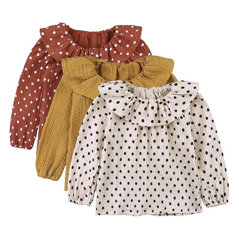 Mädchen kleidung baumwolle langarm shirts peter pan kragen baby mädchen prinzessin shirts kleinkind casual tops Dot bluse kleinkind