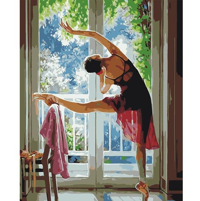 Подставил балкон балета картина на стене акриловой живописи по номерам DIY рисование по номерам уникальный подарок раскраски по номерам 40*50