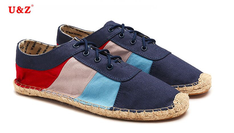 ФОТО Cool yet Functional British style color-blocking Canvas Espadrilles Shoes US10.5,Breathable Casual shoes Navy Eu45 driving shoes