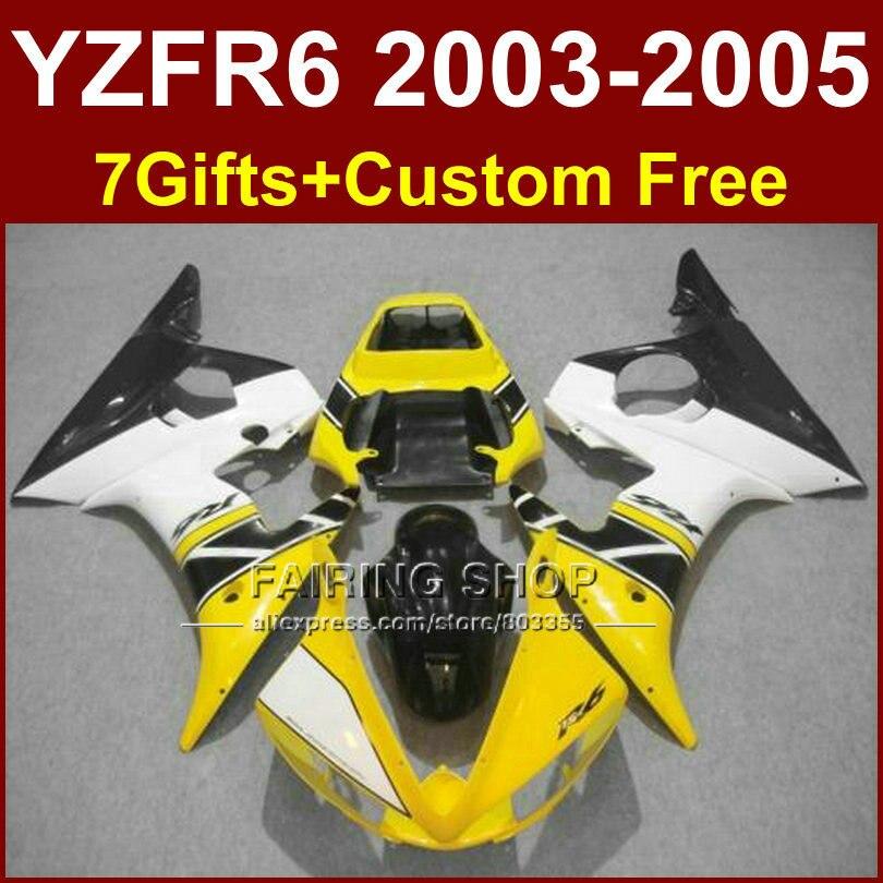 Цвет: желтый, белый детали кузова R6 для YAMAHA r6 Обтекатели комплекты 03 04 05 YZF R6 2003 2004 2005 пользовательские наборы обтекателей + 7 подарки
