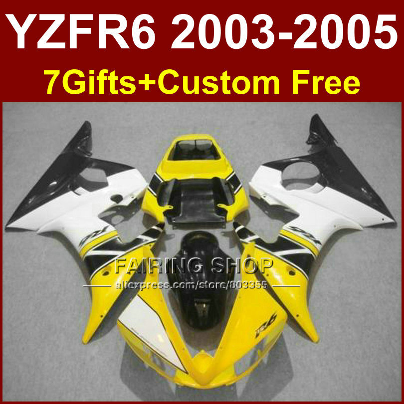 Yellow white body parts R6 for YAMAHA r6 fairings sets 03 04 05 YZF R6 2003 2004 2005 custom fairing kits +7Gifts free custom fairings for 2003 2004 suzuki gsxr 1000 fairing kits 03 04 gsxr1000 k3 gsx r1000 yellow gray black white kh192