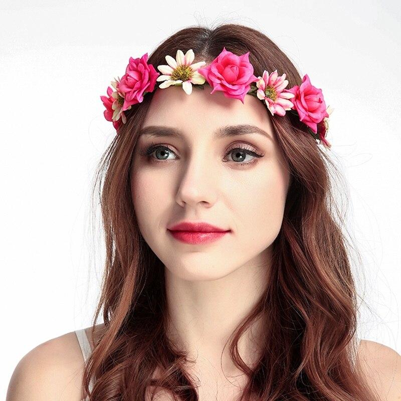 Women Head Wreath For Girls Hair Headband Flower Crown Wedding Garland Forehead Hair accessories Headdress,d women