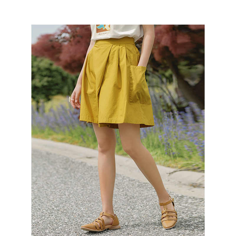 INMAN 2019 Summer New Arrival 100% Cotton Minimalism Casual All Matched Literary Solid Slim Women Loose Skirt Pants