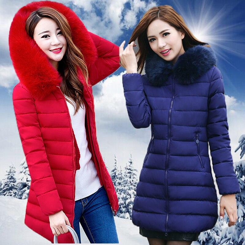 2019 Winter Women Hooded Coat Fur Collar Thicken Warm Long Jacket women's coat girls long slim big fur coat jacket Down Parka