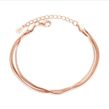 LUKENI New Fashion 925 Silver Bracelets For Women Lady Jewelry Top Quality Rose Gold Snake Chain Anklets Accessories Girl Bijou