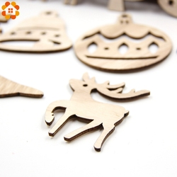 10PCS DIY Christmas Snowflakes&Deer&Tree Wooden Pendant Ornaments For Christmas Party Xmas Tree Ornaments Kids Gifts Decorations 4