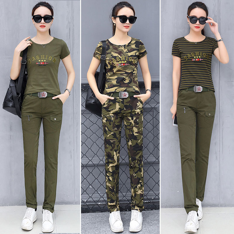 Two Piece Set Top And Pants 2019 Summer New Casual Large Size T-shirt And Trousers Army Green Camouflage Two-piece Suit