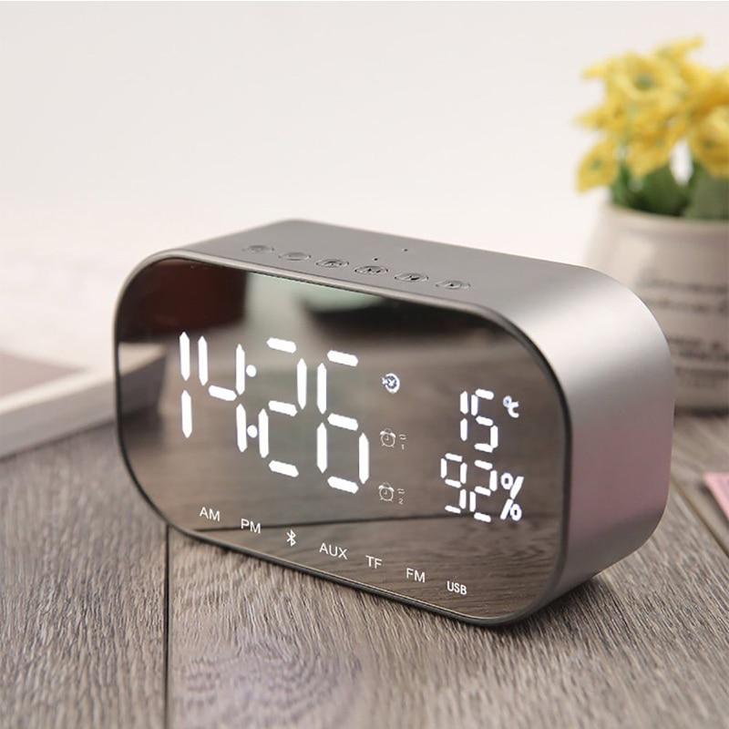 EAAGD LED Relógio Despertador com Rádio FM Suporte sem fio Bluetooth Speaker TF Aux USB Leitor de Música Sem Fio para Escritório Quarto