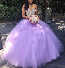 Girls Quinceanera Dresses 2019 Lavender Beaded Sweetheart Sweet 16 Prom Birthday Party Ball Gown vestido de 15 anos debutante