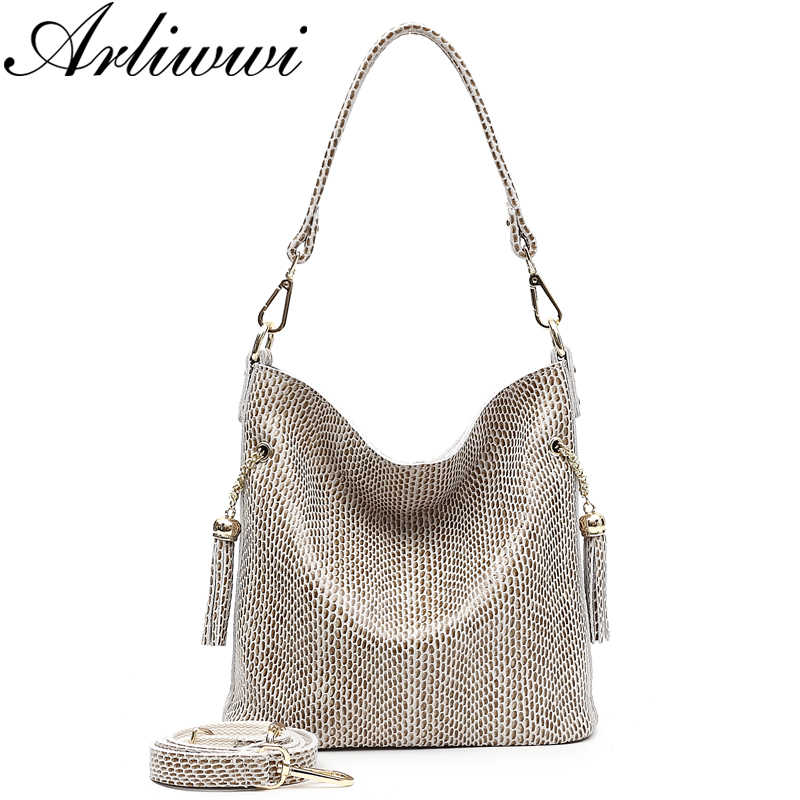Arliwwi  Brand Designer New Real Leather Shiny Snake Pattern Embossed Female Shoulder Bags High Quality Women Everyday Handbags