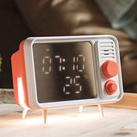 Retro ABS Alarm Clock TV Shape Dimmable Bedside LED Display Temperature Display Timed Night Light Soft Light Voice Memo