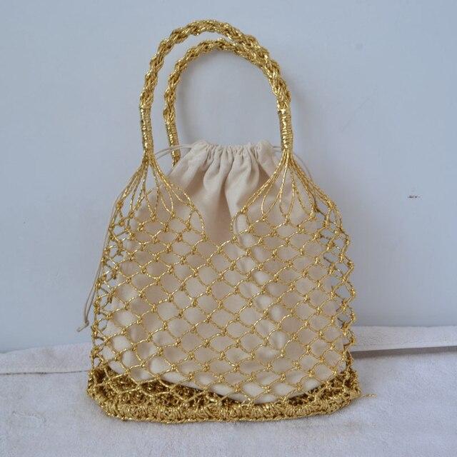 Золото, серебро 2 вида цветов яркие бумажные веревки полые сплетенный хлопковая подкладка соломенная сумка женские сетчатые сумки сетчатая пляжная сумка