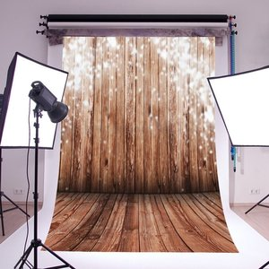 Image 1 - Photography Backdrops Bokeh Halos Shabby Weathered Stripes Wood Floor Seamless Newborn Background