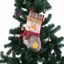 1PCS Colorful Christmas Stocking Children Gift Bags DIY Xmas Tree Pendant Ornaments For Home Christmas Party Decoration Supplies