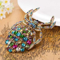 Big Size Spider Brooch Pins Fine Evening Party Anniversary Brooches Bijuterias Noble Rhinestone Hijab Accessories Coral