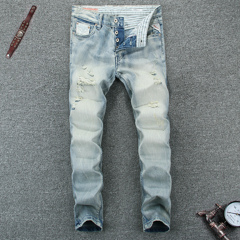 Light Blue Denim Men Jeans High Quality Slim Fit Destroyed Ripped Jeans For Men White Wash Brand Stripe Biker Jeans Mens Pants classic mid stripe men s buttons jeans ripped slim fit denim pants male high quality vintage brand clothing moto jeans men rl617