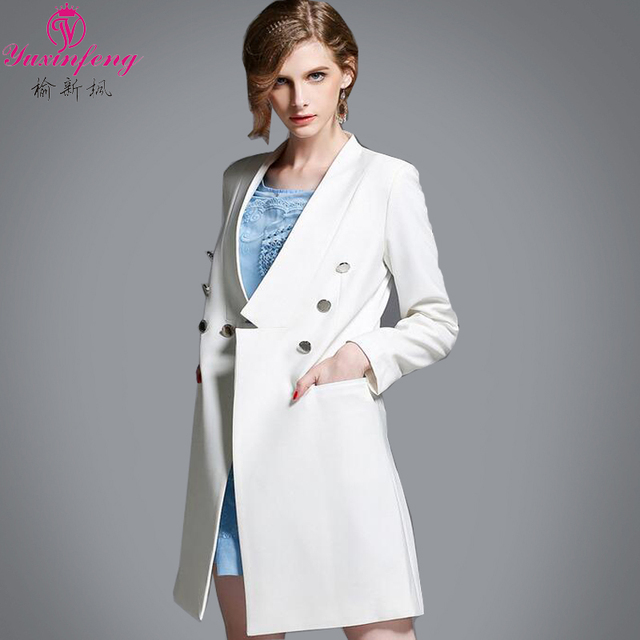 Yuxinfeng Spring New Women White Windbreakers High Fashion Medium Long Coat Double Breasted Golden Button Trench Long Sleeve