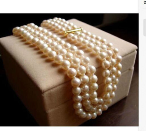 цена на Beautiful NEW triple strands8-9mm south sea round white pearl necklace 17-19